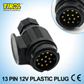 Tirol 13-Pin Trailer Plug  Black Plastic 13-Pole Trailer Connector 12V Towbar Towing Socket - Trailer End T21214b