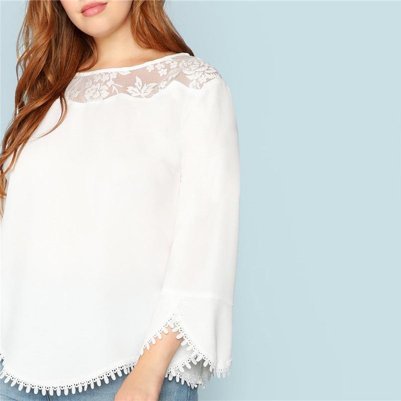 Blusa PuroDime blanca de manga larga Paraíso de la Moda | PdM