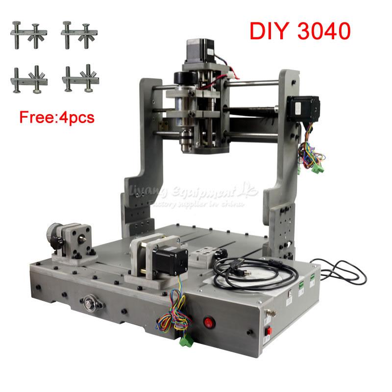 Mini bricolage CNC fraiseuse 3040 CNC machine de graveur de routeur 4 axes usb type avec 4 pièces pinces