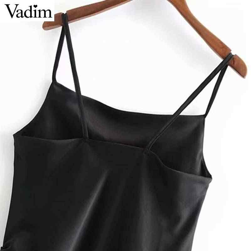 Vadim женское сексуальное черное мини-платье с завязками на завязках на бретельках без рукавов с открытой спиной асимметричные платья однотонные vestidos QB541