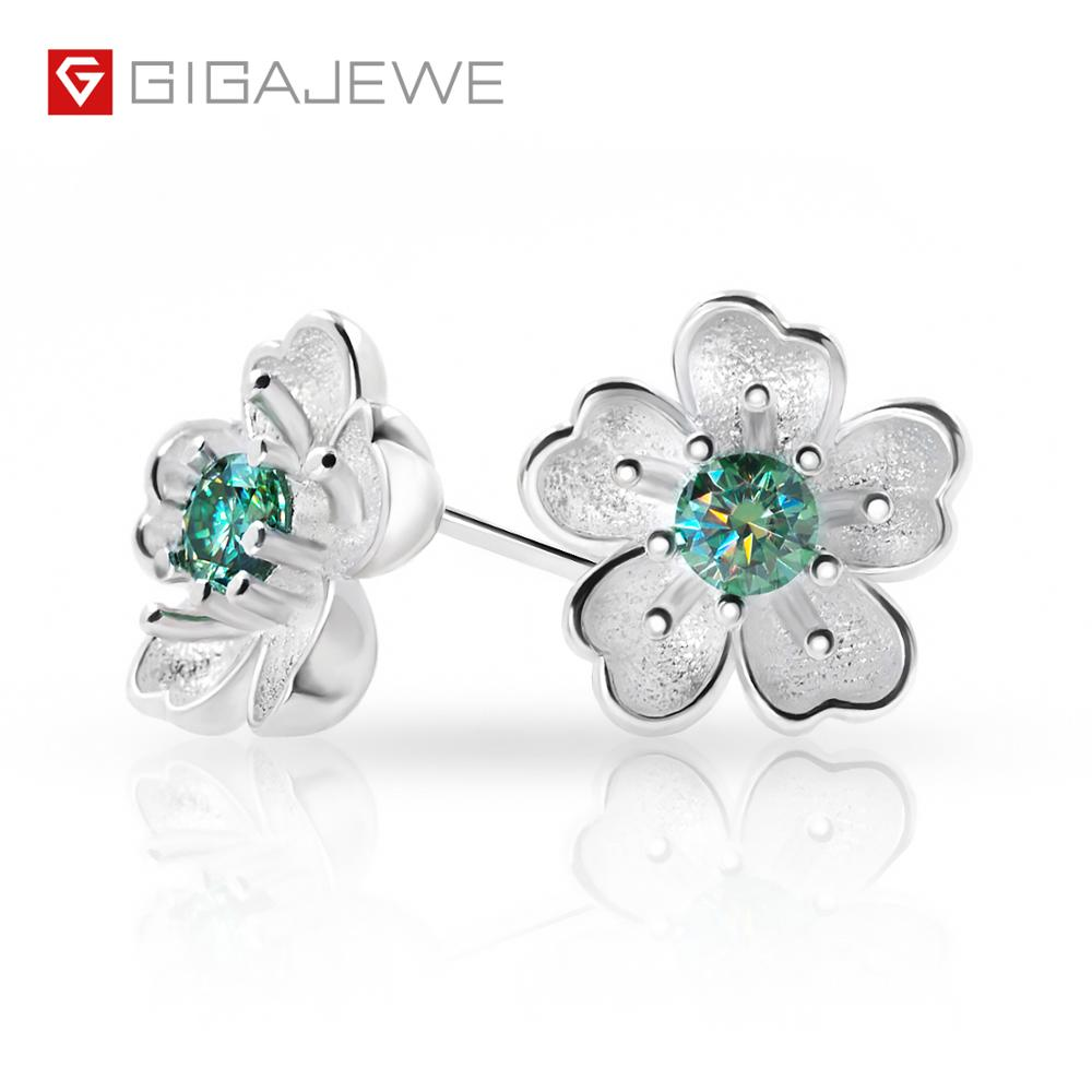 GIGAJEWE Green Round Cut Total 0.2ct Diamond Test Passed Moissanite 18K Gold Plated 925 Silver Earring Jewelry Girlfriend Gift
