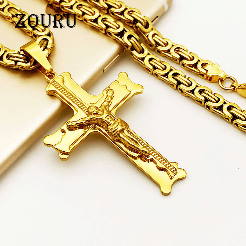 Hot Sale Multilayer Cross Christ Jesus Pendant Necklace Stainless Steel Link Byzantine Chain Men Jewelry Gift Free Shipping