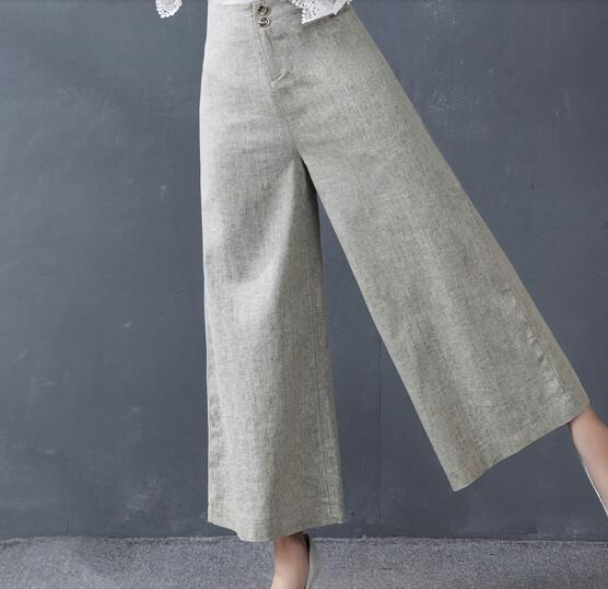Wide     leg     pants   for women plus size 35%cotton 65%linen plus size gray green summer spring autumn casual capris high waist dhz0702