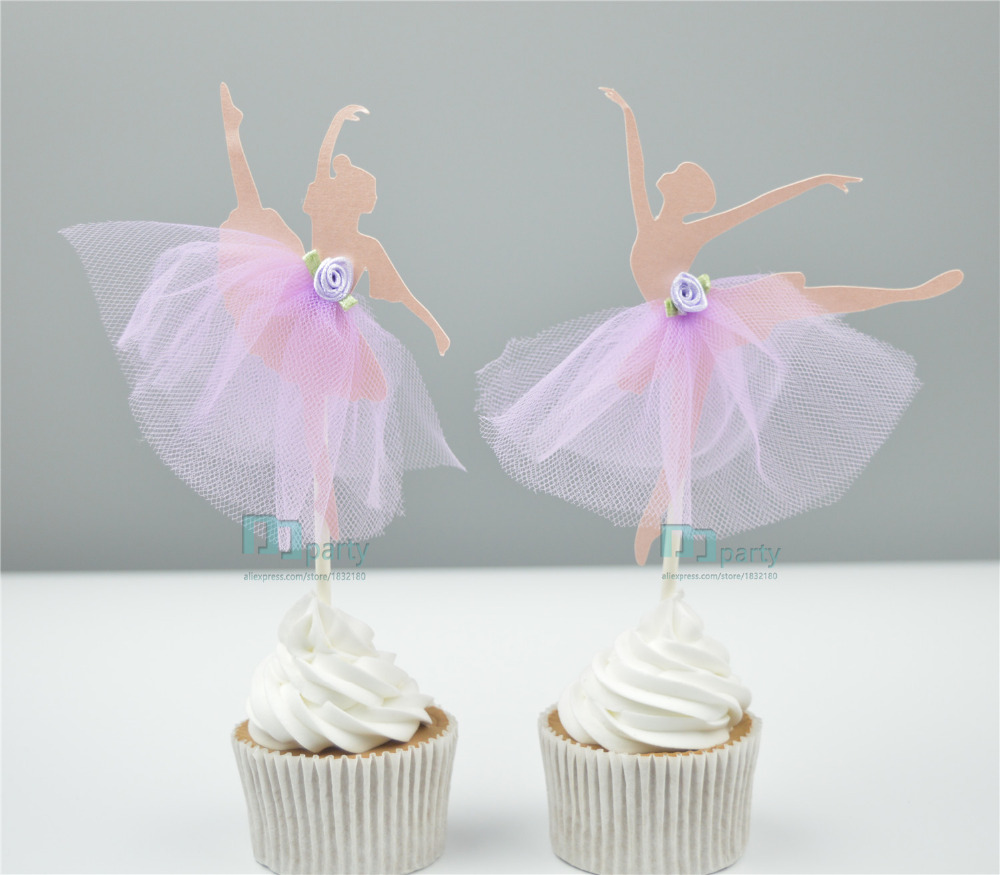 Handmade ballerina ballet girl cupcake toppers party picks for Ballerina party decoration ideas