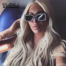 WarBLade Fashion Women Pearl Rectangle Sunglasses Brand Desi