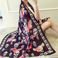 New Women Silk Scarves and Beach Shawl Fashion Lady Skull and butterfly Scarf  Echarpe Luxurious Wrap of Plus Size SC2898