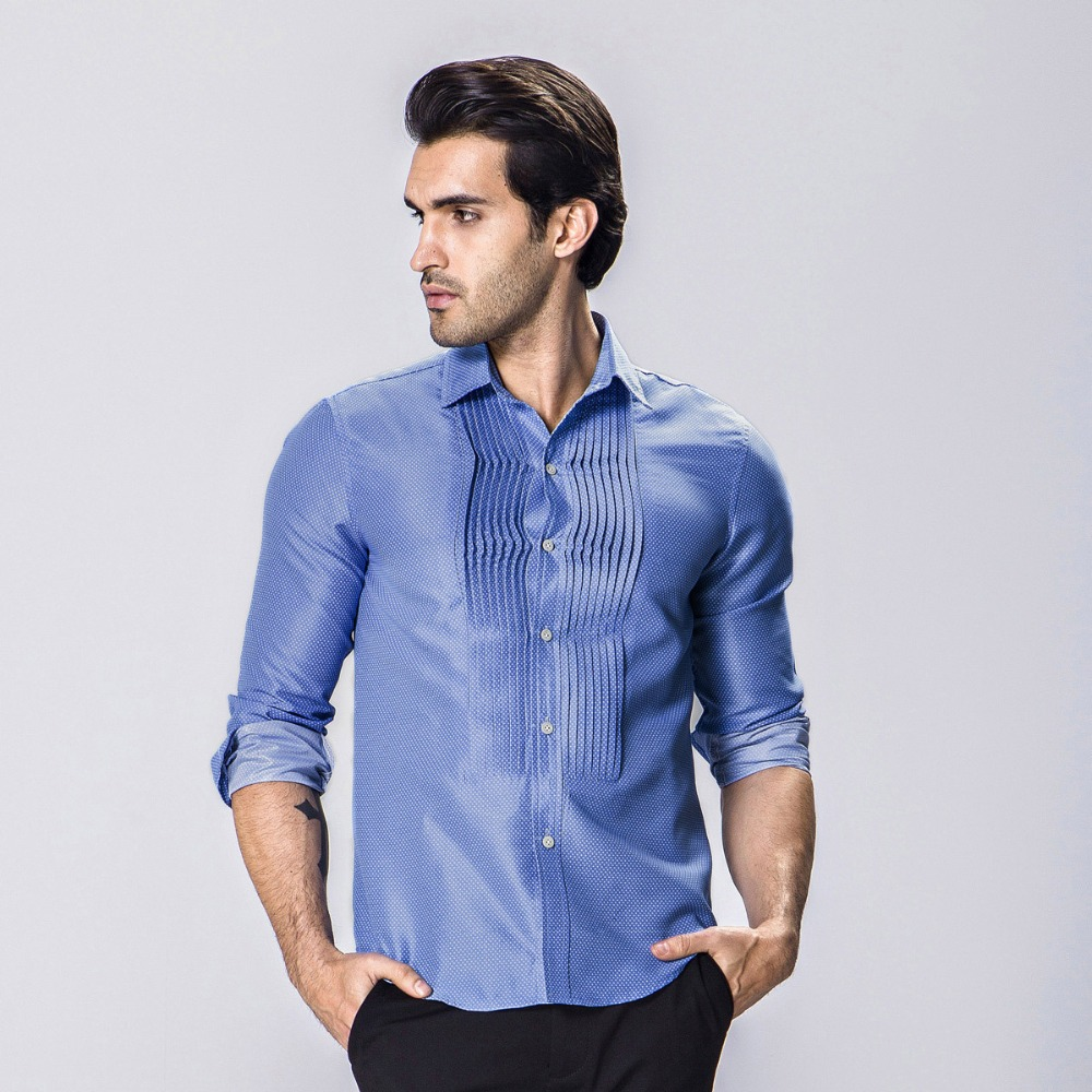 Popular mens pleated shirt buy cheap mens pleated shirt for Frilly shirts for men