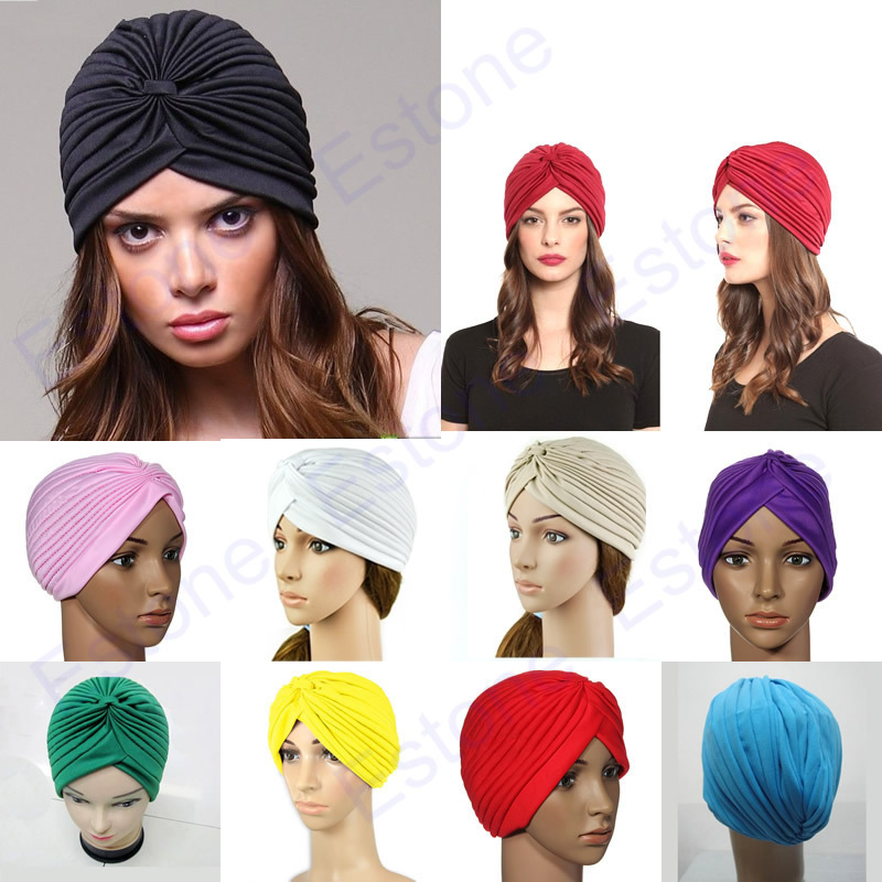Stretchy Turban Head Wrap Band Sleep Hat Chemo Bandana Hijab Pleated Indian Cap womensdate 19 color indian cap for women turban hats women s head wrap band hat beanies stretchy chemo bandana hijab 1pcs