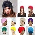 Stretchy Turban Head Wrap Band Sleep Hat Chemo Bandana Hijab Pleated Indian Cap