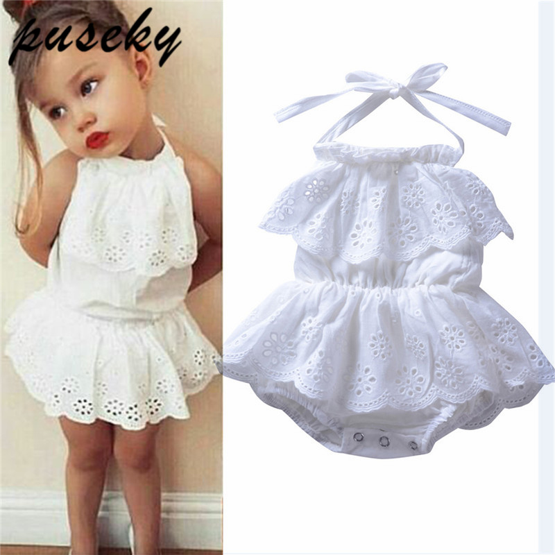 puseky Newborn Infant Baby Girl Lace Halter Backless Jumpsuit Romper Bodysuit Sunsuit Outfits