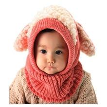 Детские зимние шапки с заячьими ушками, милая шапка для малышей, шапка, теплая шапка для младенца, вязаный шарф с капюшоном, комплект, модные колпачки закрылков, горячая распродажа