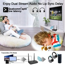 NFC 262ft/80m Long Range Bluetooth 5.0 Transmitter Receiver 3in1 Music Audio Adapter Low Latency aptX HD Spdif RCA AUX 3.5mm TV