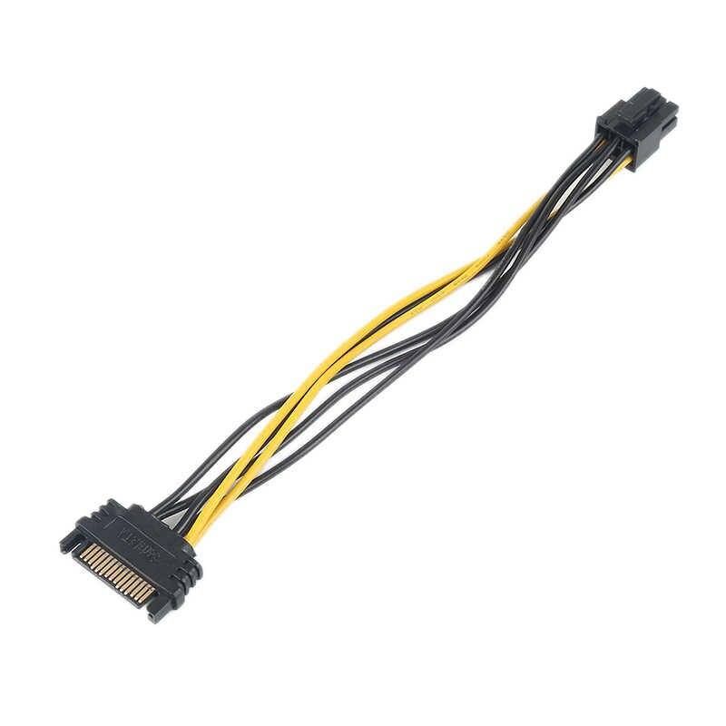 Hurtownie kabel zasilający sata 15 do 6 pinów pci express PCI-E przetwornik sata karta wideo 20CM długość adapter kabla zasilającego