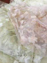 Tela exquisita de gasa para vestido y muñeca, tejido bordado de encaje a hilo, carne en polvo/Flor estéreo champán, 0,5 M x 1,4 M