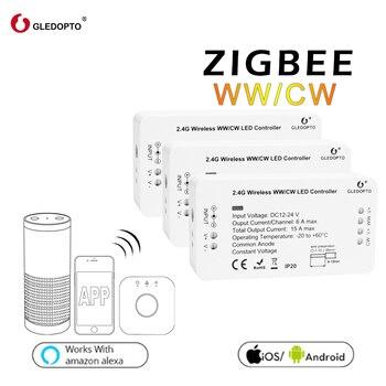 Cena fabryczna gledopto WW/CW inteligentne sterowanie systemu zigbee sterowanie bezprzewodowe led sterownik oświetlenia 12 v-24 v rgb przełącznik ściemniania LED