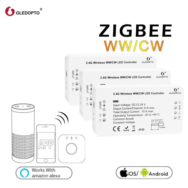 Preço de fábrica gledopto WW/CW zigbee controle inteligente sistema de controle sem fio levou controlador de iluminação 12 v-24 v rgb escurecimento interruptor LEVOU