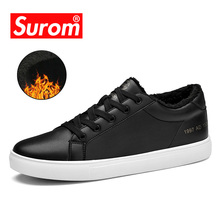 SUROM Casual Men's Shoes Winter Plush Fur Flats Warm Snow PU Leather Lace Up Fashion Male Shoes Adult Sneakers Sapato Masculino