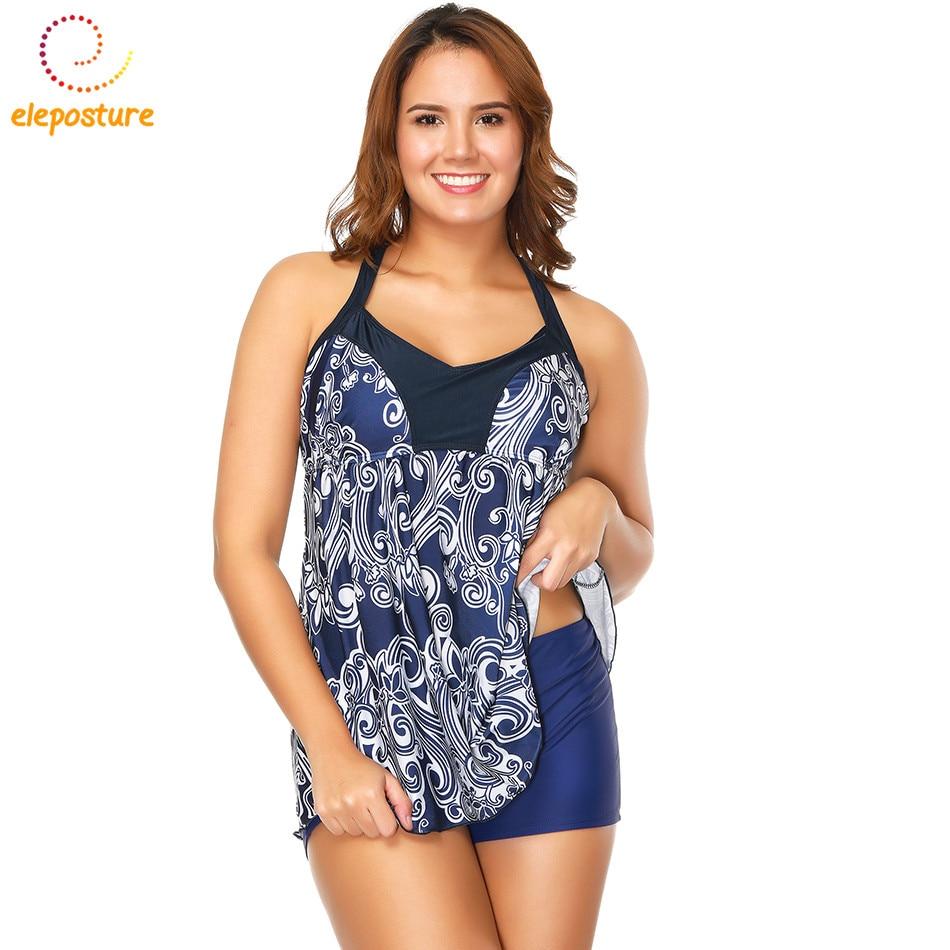 Plus Size Swimwear 2018 New Tankini Swimsuits Women Bathing Suit Skirt Print Swimsuit Retro Beachwear Swimdress Tankini Set XXXL