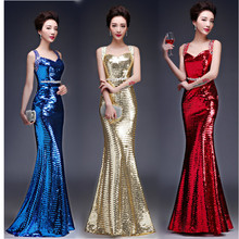 Gold Sequin Party Dress Long Sparkly Bridesmaid Dresses Mermaid Sweetheart Sexy Slim Prom Gown Blue Sequin Robe