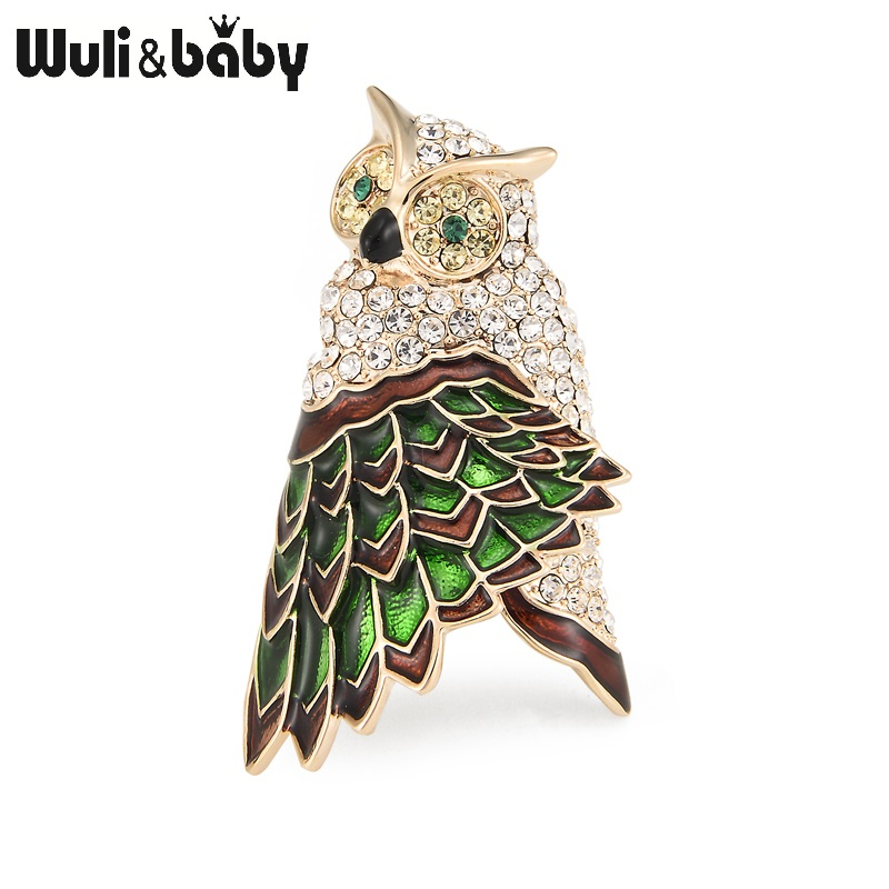 Wuli&baby Classic Green White General Owl Brooches Alloy Animal Women's Party Banquet Brooch Girls' Hats Scarf Accessories Gifts alloy faux pearl owl brooch