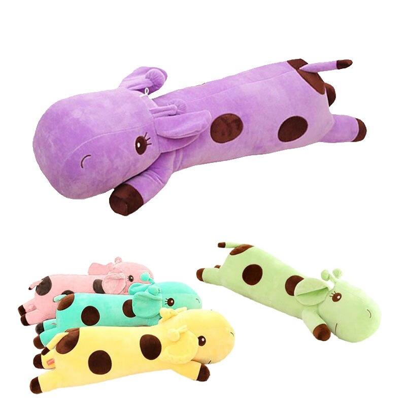 Kawaii Giraffe Plush Sleeping Pillow Baby Appease Cushion Stuffed Animal Doll Kids Toys For Children Birthday Christmas Gift D35