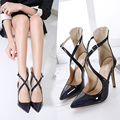 NEW 2017 Spring Ankle Strap Women Pumps European Pointed Toe Pumps High Heels Summer Sandals Ladies Shoes Large Size Black Red