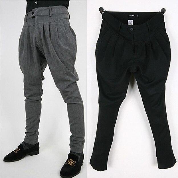 Падение промежность брюки мужчины штаны бегуном брюки хип-хоп гарем багги шаровары черный серый M L XL XXL
