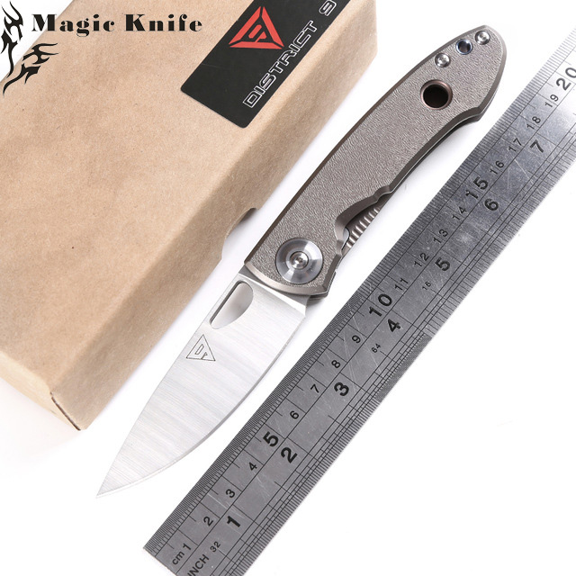 MAGIC District 9 E190 Folding knife 14C28N blade titanium handle Outdoor survival camping hunting Pocket knives EDC ToolsMAGIC District 9 E190 Folding knife 14C28N blade titanium handle Outdoor survival camping hunting Pocket knives EDC Tools