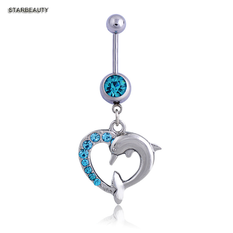 Lovely Dolphin Heart Navel Piercing Ombligo Navel Ring, 14G Sexig magknäppningsringar Body Piercing Nombril Pircing Navelpiercing