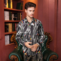 fashion new male free shipping men's long sleeved  Print Shirt man long sleeved 2016 plus fat color jacket full of flower shirt