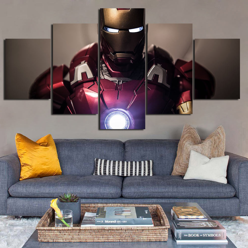 5 Pieces Canvas Iron man movie Painting modular pictures dropshipping Modular Ironman poster F1140