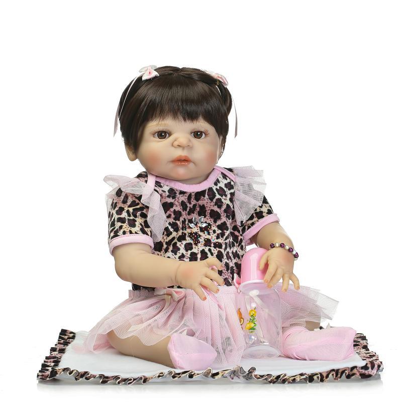 Victoria Reborn Baby Girl Dolls 22 Full Vinyl Body Doll 55cm Lifelike Reborn Doll in Leopard Dress of Girls' XMAS Gifts & Toys victoria reborn baby boy dolls 22 full vinyl body doll new fashion 55cm lifelike lovely doll in blue clothes reborn baby doll