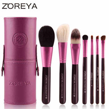 Zoreya 7 pcs Natural Pêlo de cabra Makeup Brushes Set Pó muito maquillage pinceaux Cosmetic MakeUp Brush tool Organizador 40 #707