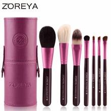 Zoreya 7pcs Natural Goat Hair Makeup Brushes Set Powder lot pinceaux maquillage Cosmetic tool MakeUp Brush Organizer 40#707