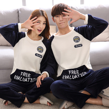 Autumn Winter Couple Printing Letter Pajama with Long Sleeve Plus Thick  O Neck Warm Flannel Large Size Pajama Sets Home Suits