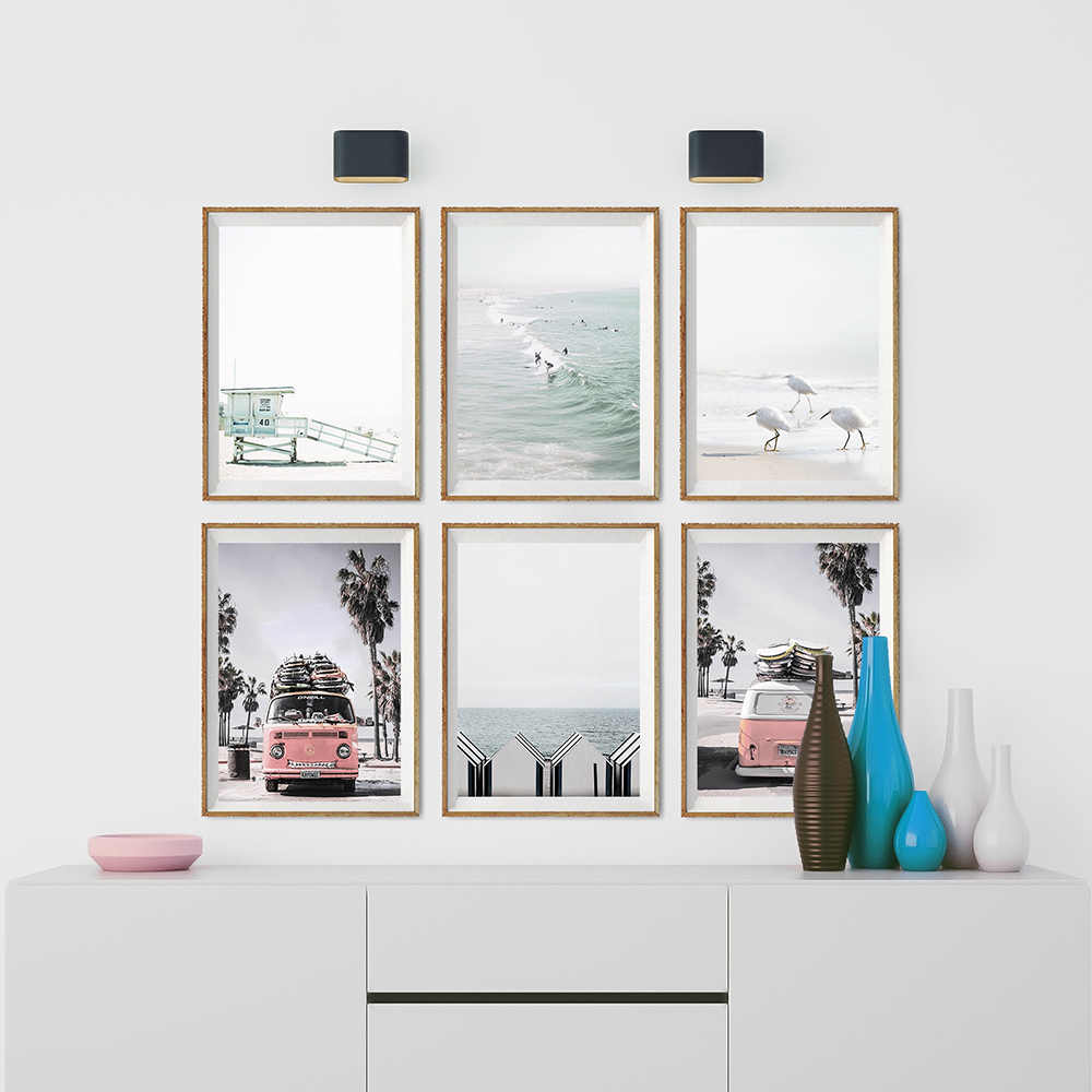 California Beach Poster Art Santa Monica Beach Prints Coastal Canvas Painting Wall Art Nordic Decoration Pictures Surf Decor