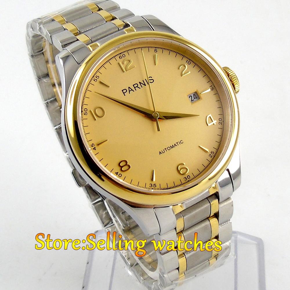 38mm Parnis golden dial Sapphire Glass miyota Automatic mens Watch