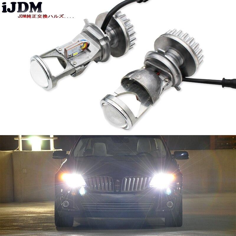 IJDM Plug-n-play H4 LED/9003 double faisceau Hi/Lo haute puissance phare LED ampoules de lentille, convertir OEM H4 en phares de projecteur LED,
