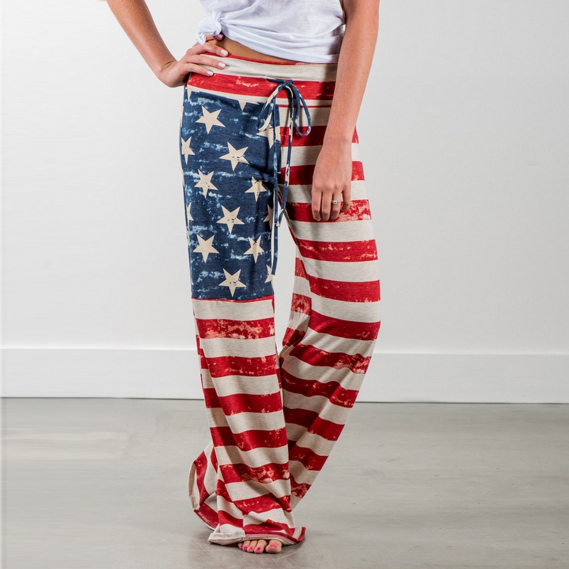 Nuove Donne Pantaloni delle Donne di Modo di Estate Pantaloni Lunghi In America Bandiera Nazionale Stampato Il Trasporto Pantaloni Figura Intera Vita Media Casuale