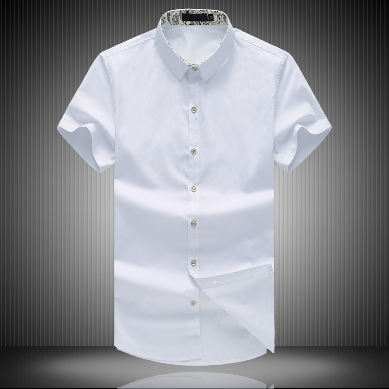 New 2016 summer solid color casual short-sleeve shirt men plus size mens shirts chemise homme mens clothing size m- 8xl /DCS13