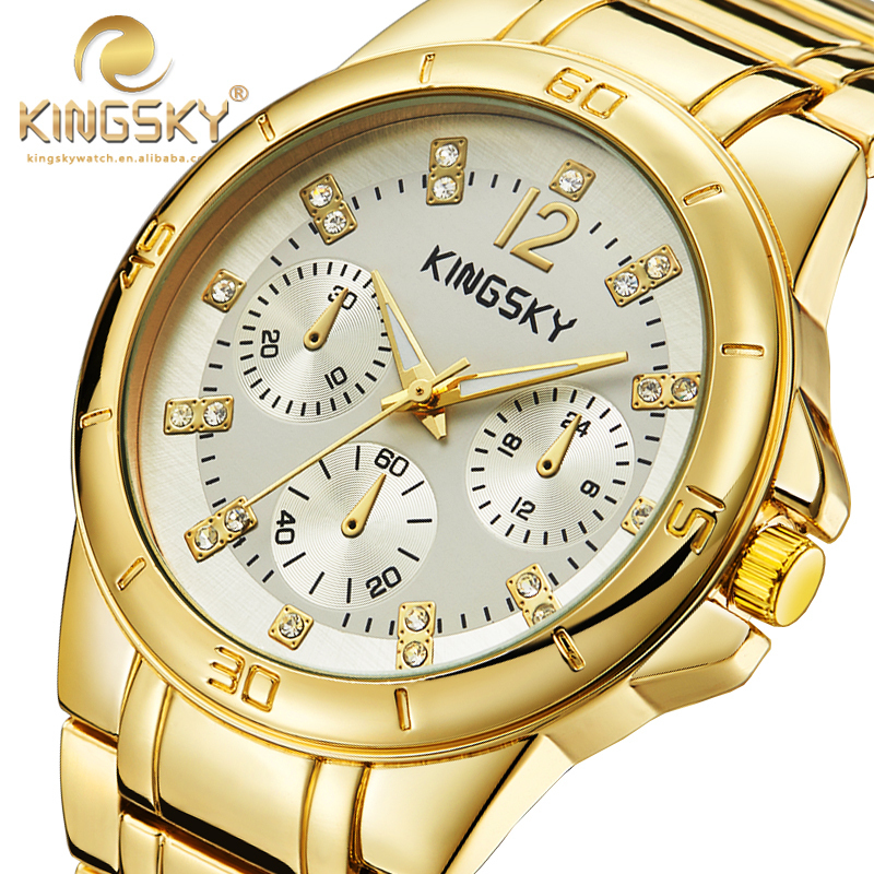 New Arrivial 120013A-4#KINGSKY Women New Casual Watches Gold Gray Brand Famous Japan Quartz Fashion Reloj Mujer Free Shipping kingsky women new casual watches brand famous quartz fashion reloj mujer 021052 2017 new arrivial free shipping