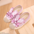 B&D Pink/Gold/Black Slip On Spring Summer Princess Baby Shoes For Girls Fashion Children Kids Sneakers Cute Rabbit  Shoes Boys