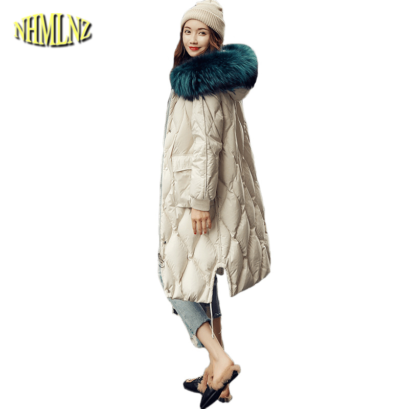 Winter High quality Women's   Down     Coat   New Fashion Warm Hooded Real fur collar White duck   down   Loose Women's   Down   jacket LH371