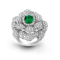 Anillos QI xuan_fashion jewelry_luxury CZ зеленый Камни цветок Rings_S925 чистого серебра зеленый ring_manufacturer непосредственно продаж