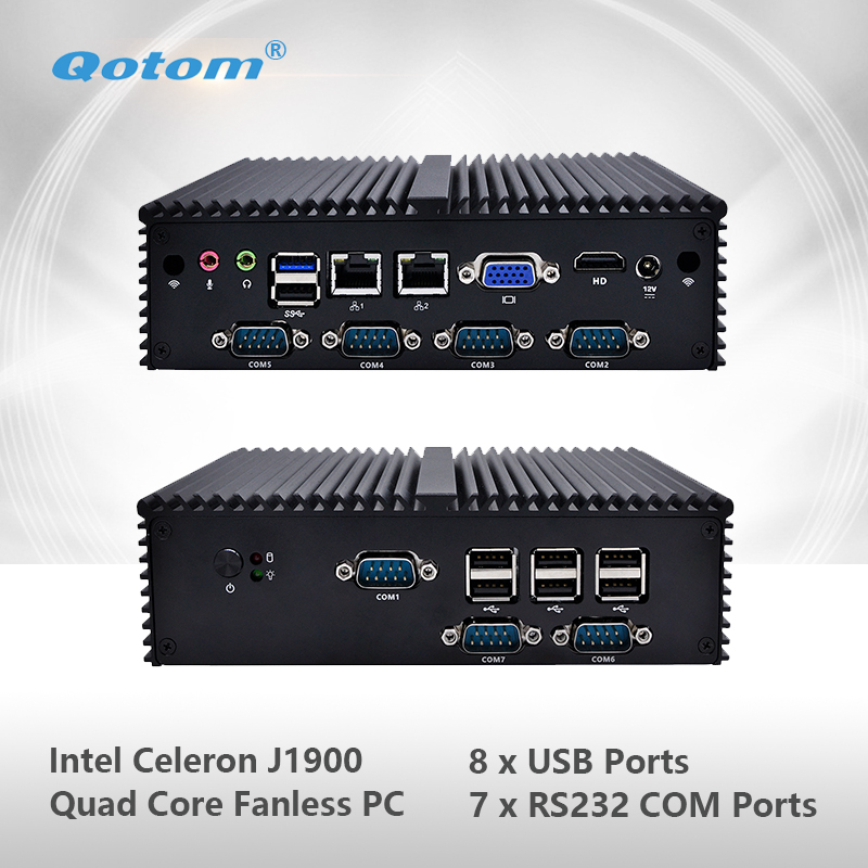 Qotom-Q190X Qotom Fanless Mini PC with Celeron J1900 Quad Core 2 Gigabit NIC LAN 7 Serial 8 USB Ports Support Win Linux Computer dc 12v desktop pc win 7 win 8 win 10 linux kingdel mini industrial pc with celeron 1037u processor x86 mini pc dual lan