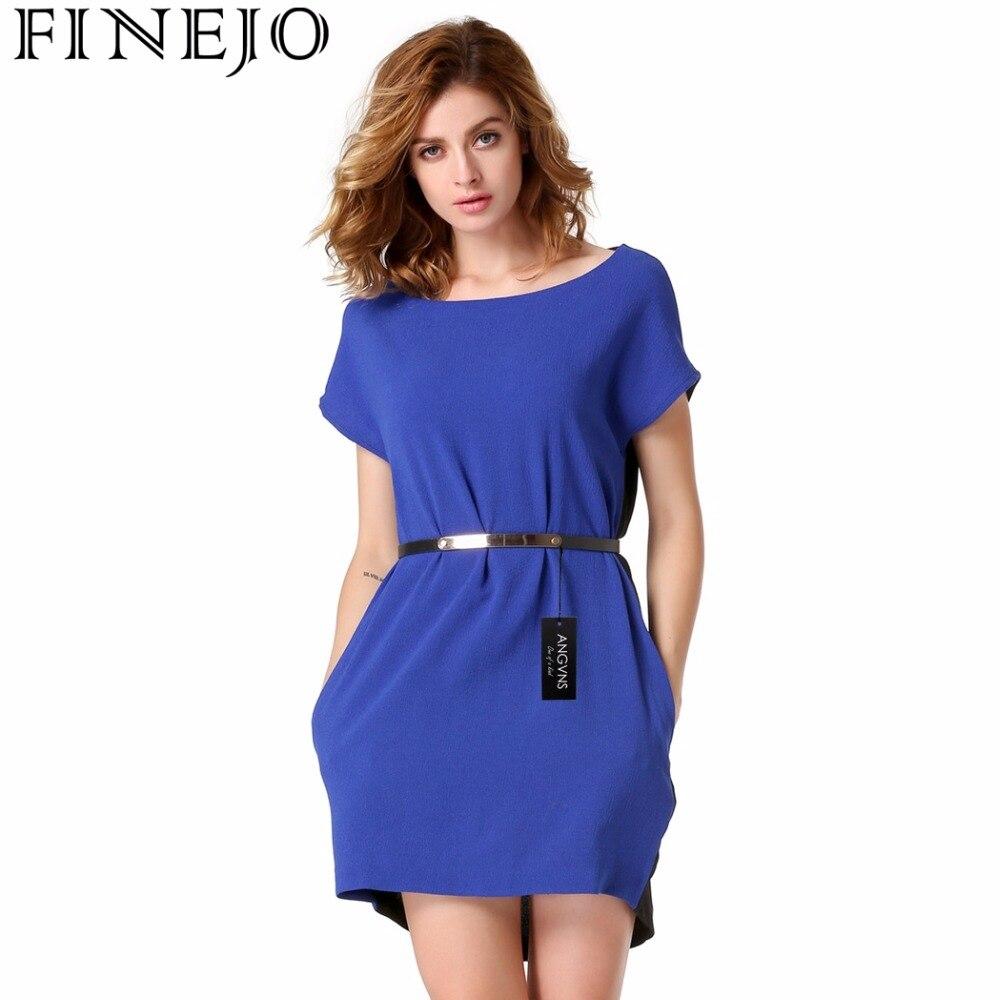 ab3f5737f0ea Finejo Brand 4 Colors Fashion Women New short Sleeve patchwork Round Neck  Chiffon Dress 2017 Saias Femininas Summer Clothing XL-in Dresses from  Women s ...