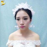 XinYun 3pcs Set Pink Gold Plated Dried Natural Flowers Bridal Earrings Wedding Hair Accessories Tiara Crown