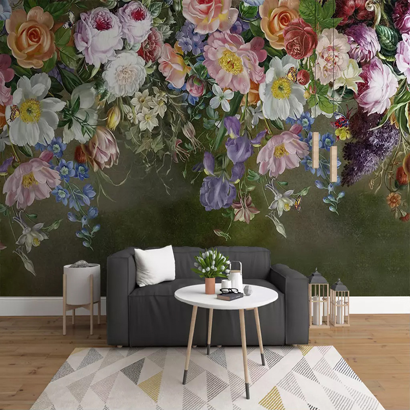 Custom Size 3D Wall Mural Wallpaper European Style Retro Hand Painted Rose Flowers Photo Wall Paper For Living Room Sofa Bedroom semikron semikron skm75gb12v original new igbt modules