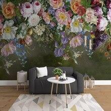 3D Wallpaper Retro Rose Flowers Hand Painted