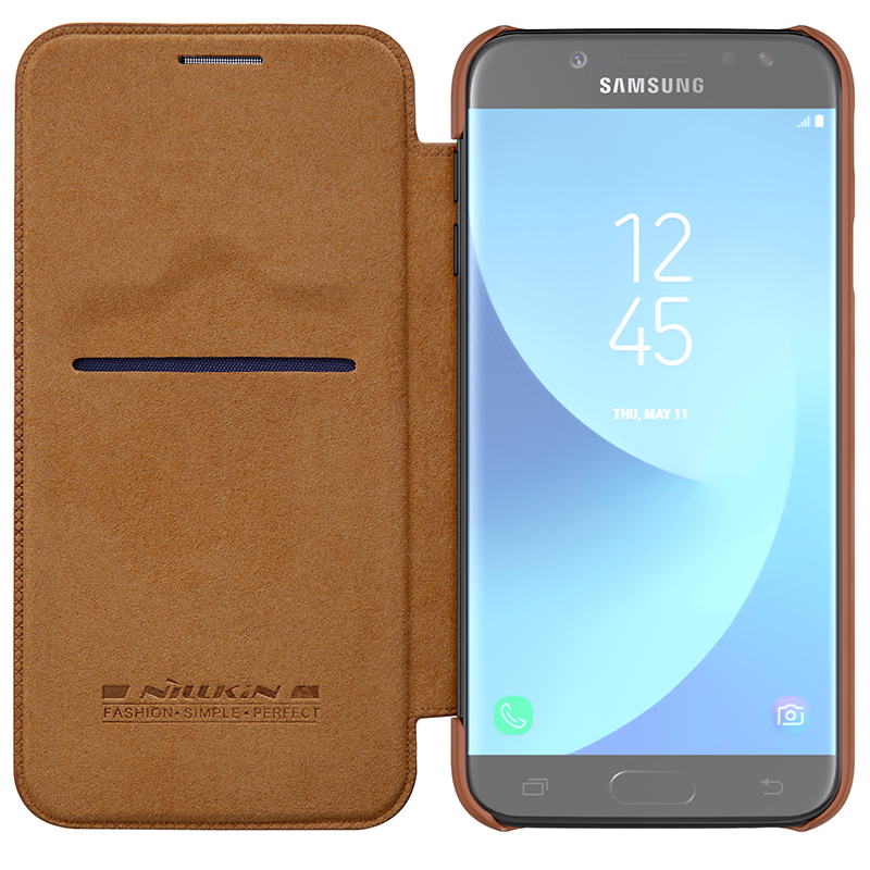 reputable site a4677 1b3a5 US $9.89 |Flip Case for Samsung Galaxy J7 2017 J730F J7 Pro Case Nillkin  Qin Series PU Leather Cover sFor Samsung Galaxy J7 2017 Case-in Flip Cases  ...